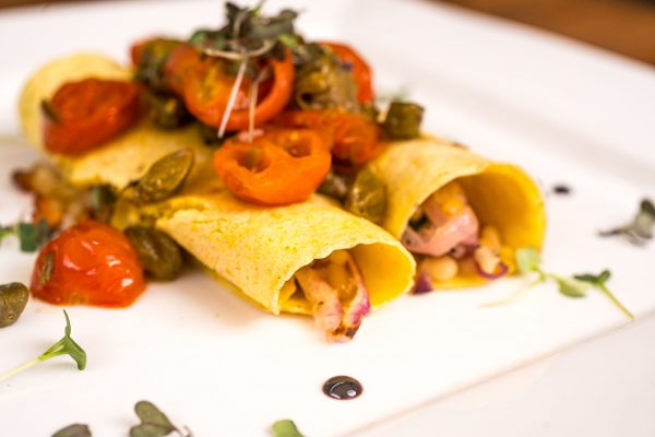Corn pancakes of courgette & Cratloe Sheep's Cheese